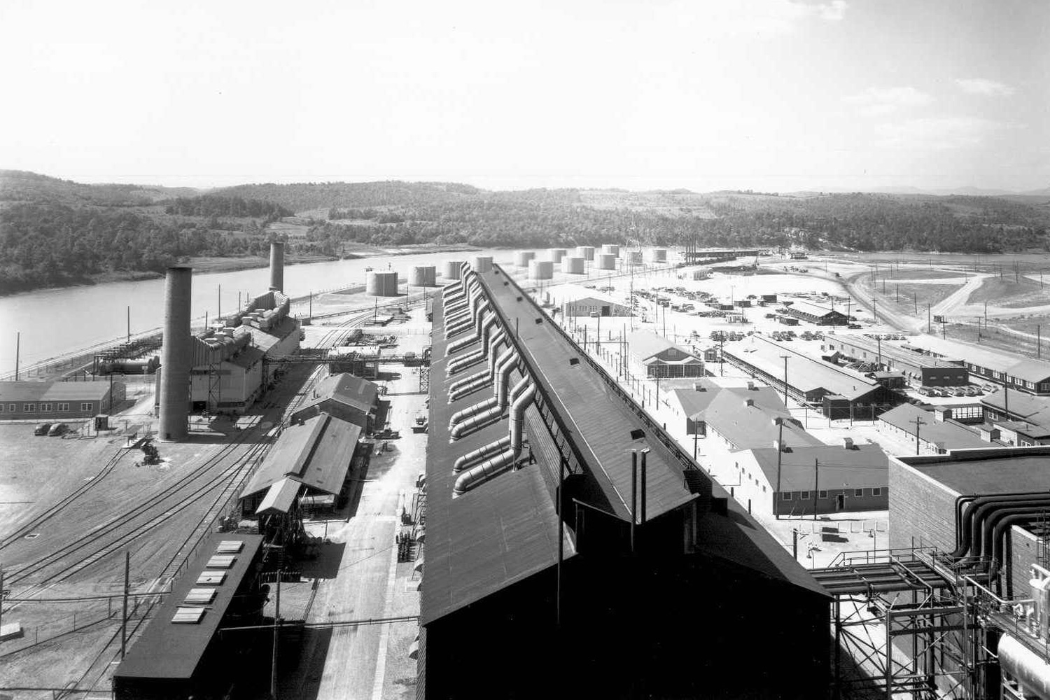 S-50 Process Building from top of K-25 Powerhouse in 1945